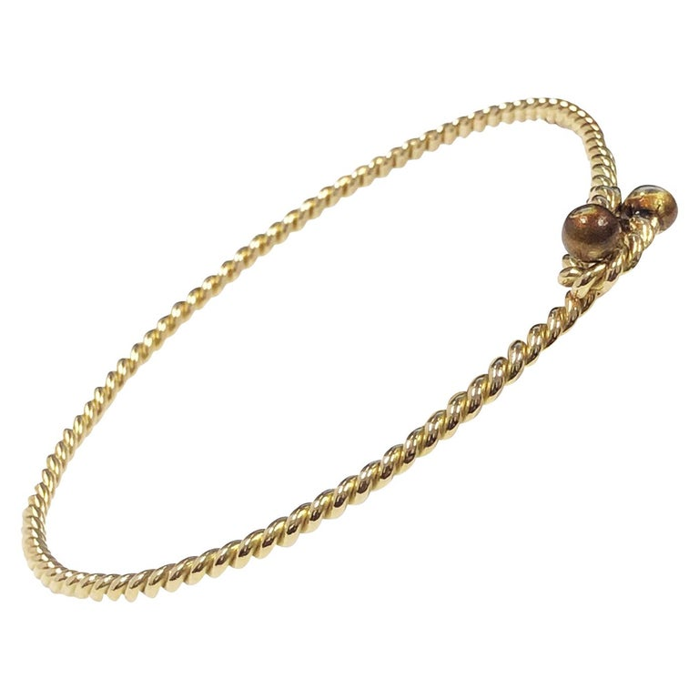 Gucci Vintage Nautical Rope Yellow Gold Bracelet For Sale