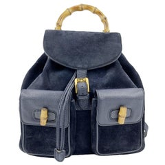 Gucci Vintage Navy Blue Suede Leather Bamboo Backpack Bag