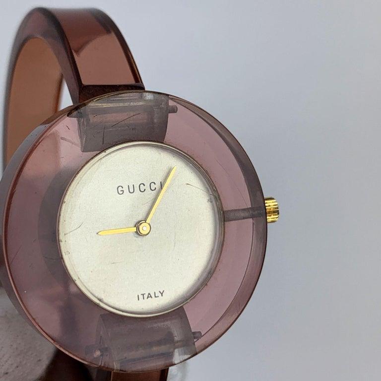 Gucci Vintage Pink Lucite Manual Wind Wrist Watch Bracelet Bangle Rare For Sale 1