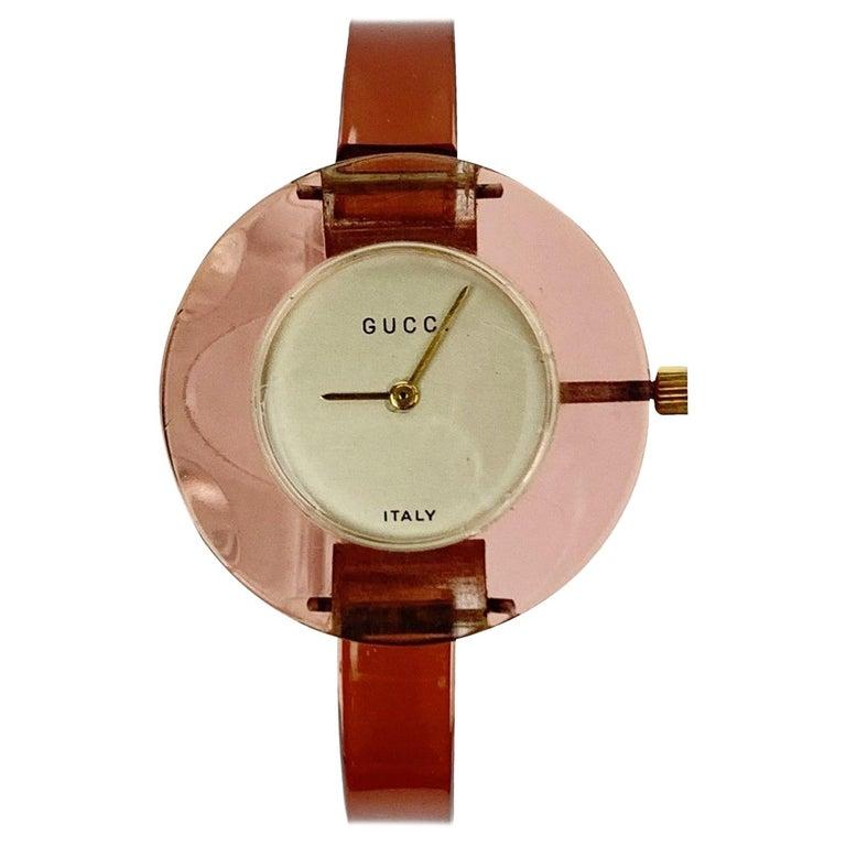 Gucci Vintage Pink Lucite Manual Wind Wrist Watch Bracelet Bangle Rare For Sale