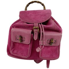 Gucci Vintage Pink Suede Leather Bamboo Backpack Bag