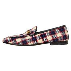 Gucci Vintage Plaid Tweed New Jordaan Check Loafers sz 38