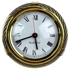 Gucci Vintage Rare Gold and Silver Metal Round Table Clock
