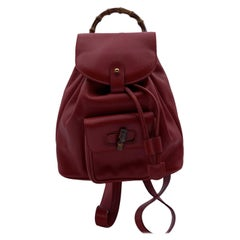 Gucci Vintage Red Leather Bamboo Small Backpack Shoulder Bag