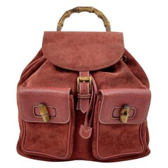 Gucci Vintage Red Suede and Leather Bamboo Backpack Shoulder Bag