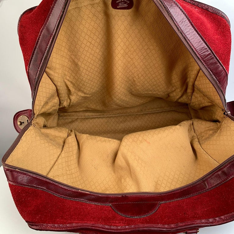 Gucci Vintage Red Suede Weekender Travel Bag with Stripes For Sale 8