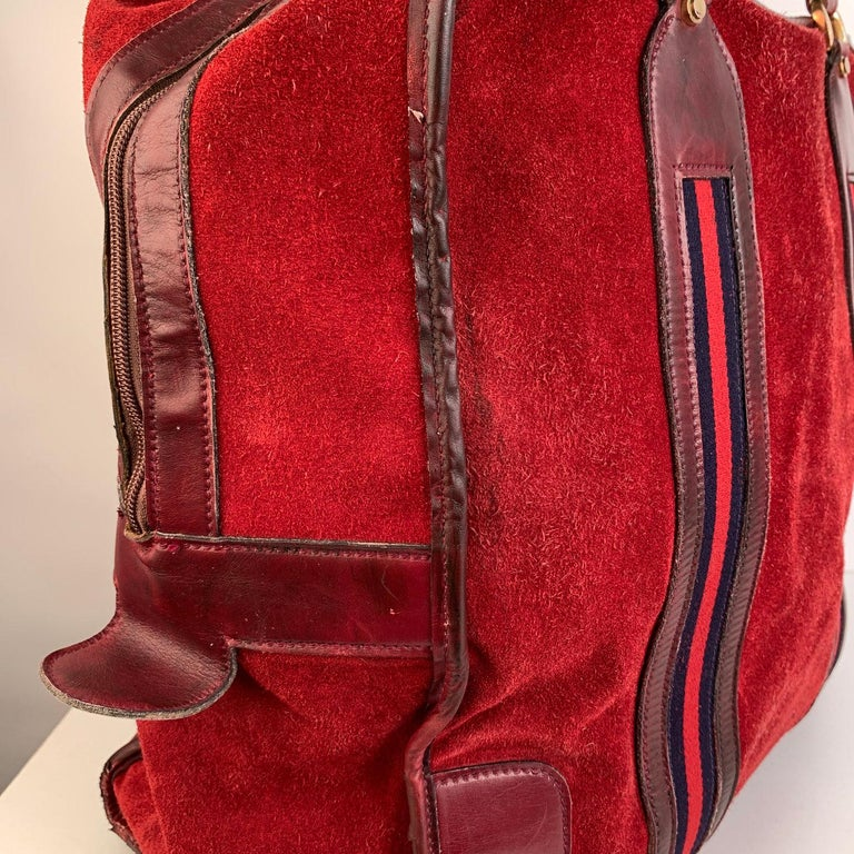 Women's or Men's Gucci Vintage Red Suede Weekender Travel Bag with Stripes For Sale