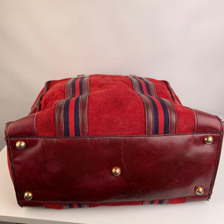Gucci Vintage Red Suede Weekender Travel Bag with Stripes For Sale 1