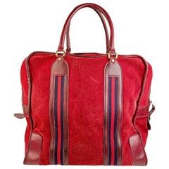 Gucci Vintage Red Suede Weekender Travel Bag with Stripes