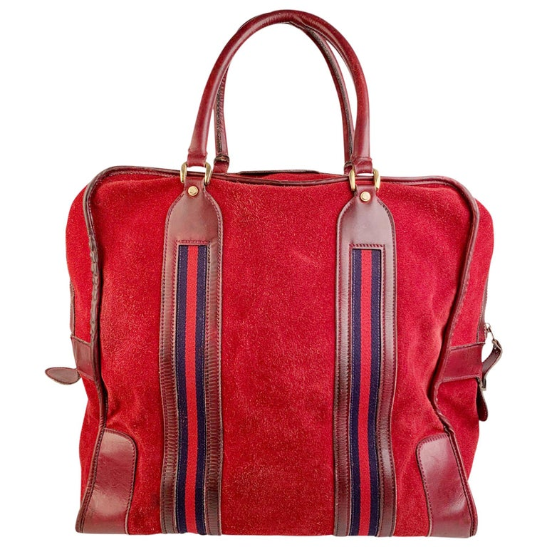 Gucci Vintage Red Suede Weekender Travel Bag with Stripes For Sale