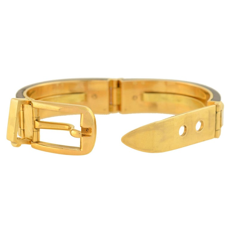 Contemporary Gucci Vintage Rosewood and Enameled Adjustable Gold Buckle Bracelet For Sale