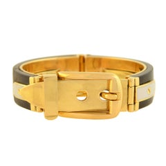 Gucci Vintage Rosewood and Enameled Adjustable Gold Buckle Bracelet