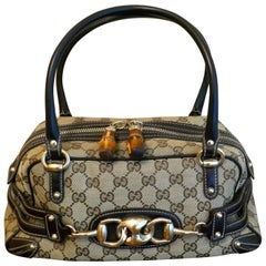 Gucci Vintage Satchel in Guccissima Canvas Wave Handbag, Horse-Bit and Monogram