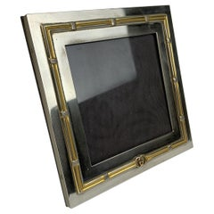 Gucci Vintage Silver and Gold Metal Square Desk Photo Frame