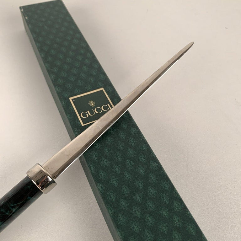 Black Gucci Vintage Silver Metal Letter Opener Green Marbled Handle with Box For Sale