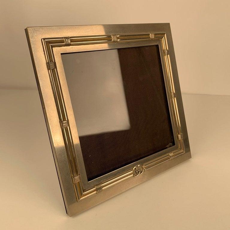 Brown Gucci Vintage Silver Metal Square Desk Photo Frame For Sale