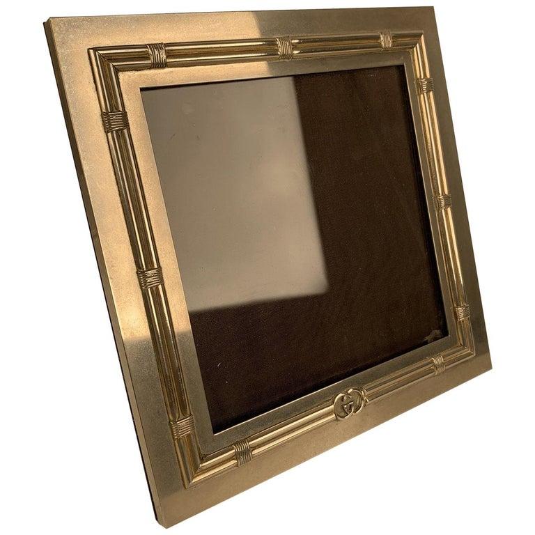 Gucci Vintage Silver Metal Square Desk Photo Frame For Sale