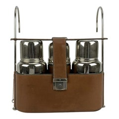 Gucci Vintage Silver Metal Thermos Flask Cups Travel Picnic Set