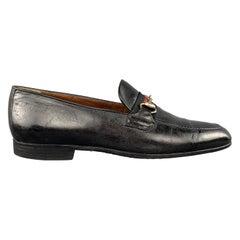 GUCCI Vintage Size 10.5 Black Leather Striped Webbing Horsebit Loafers