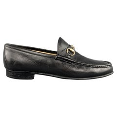 GUCCI Vintage Size 10.5 Black Solid Leather Horsebit Loafers