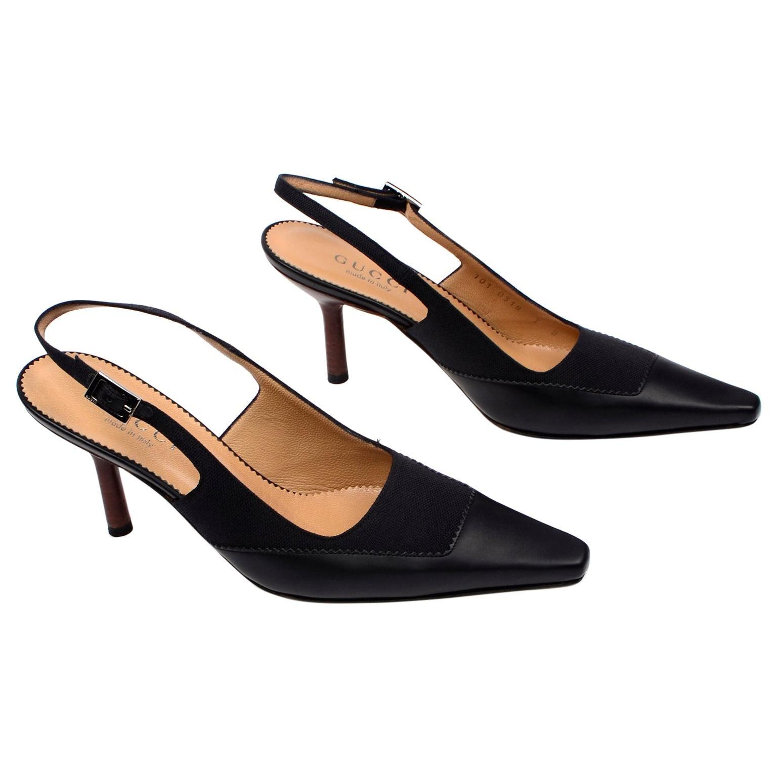 Gucci Vintage Slingback Black Leather & Canvas Heels Shoes 7b