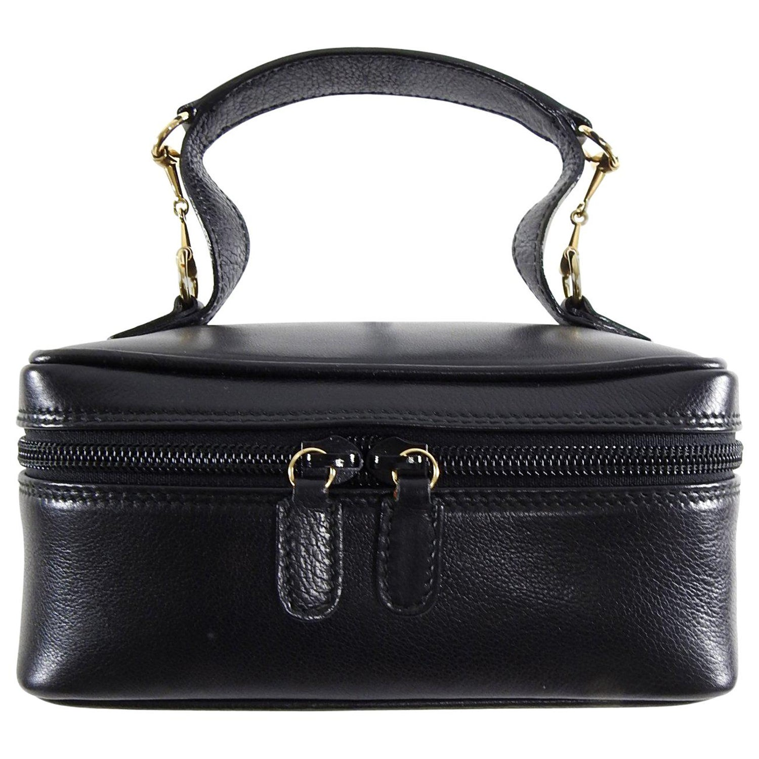 5ef6177b0 Gucci Vintage Small Black Leather Cosmetic Vanity Travel Bag at 1stdibs