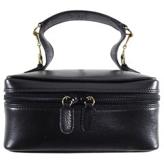 Gucci Vintage Small Black Leather Cosmetic Vanity Travel Bag