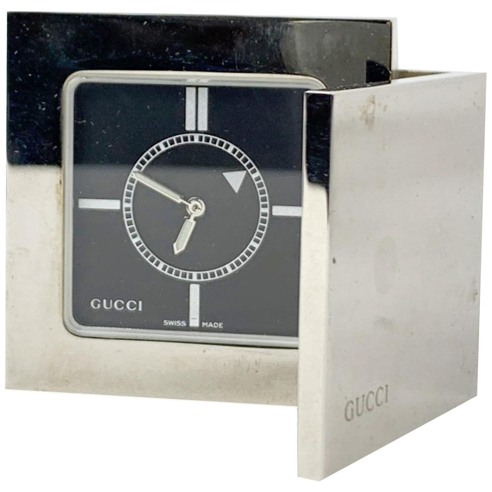 Gucci Vintage Stainless Steel Desk Table Travel Alarm Clock 0840