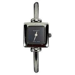Gucci Vintage Stainless Steel Mod 1900 L Bangle Wrist Watch Black Dial