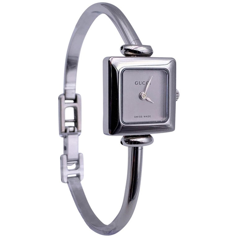 Gucci Vintage Stainless Steel Mod 1900 L Bangle Wrist Watch Silver Dial For Sale