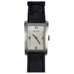 Gucci Vintage Stainless Steel Wrist Watch 8600 Leather Strap