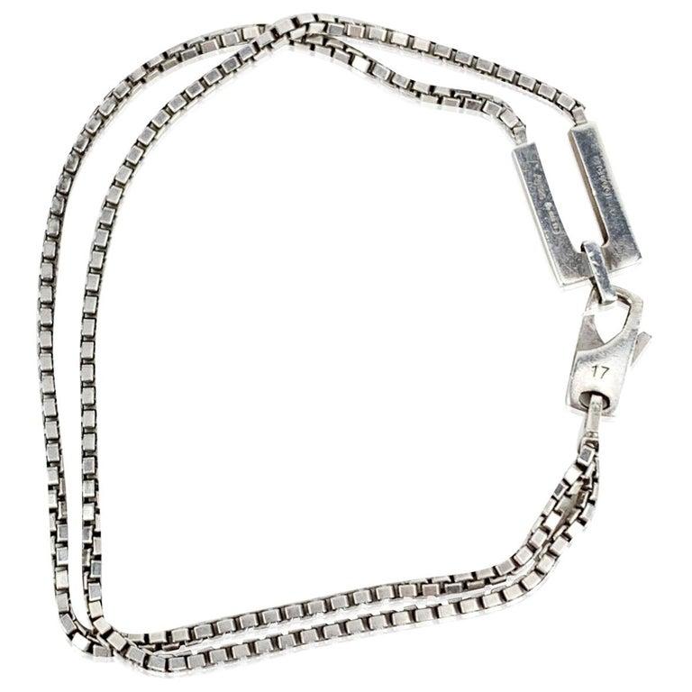 Gucci Vintage Sterling Silver 925 Double Chain Unisex Bracelet For Sale