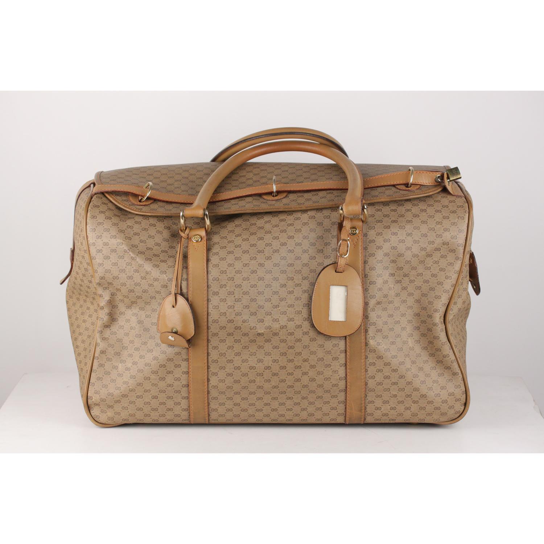 68771f7ba8b5 Gucci Vintage Tan GG Monogram Canvas Travel Bag Weekender For Sale at  1stdibs