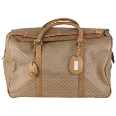 Gucci Vintage Tan GG Monogram Canvas Travel Bag Weekender