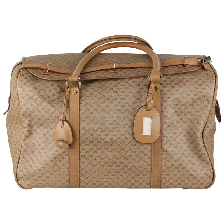 247a00f938d Gucci Vintage Tan GG Monogram Canvas Travel Bag Weekender For Sale ...
