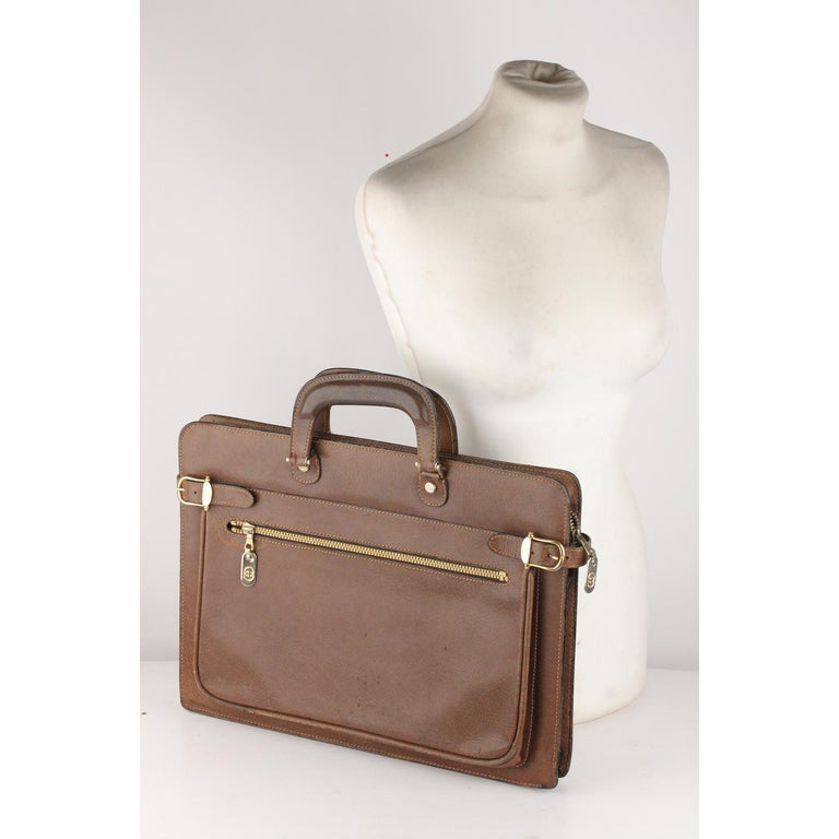 4de6e6df9 Gucci Vintage Tan Leather Briefcase Work Business Bag For Sale 7