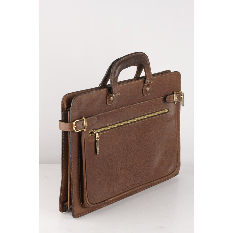 9234af105 Gucci Vintage Tan Leather Briefcase Work Business Bag For Sale 3