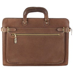 Gucci Vintage Tan Leather Briefcase Work Business Bag