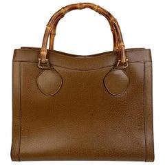 Gucci Vintage Tan Leather Princess Diana Bamboo Tote