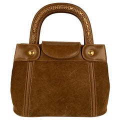 Gucci Vintage Tan Suede Leather Tote Handbag with Chain Detail