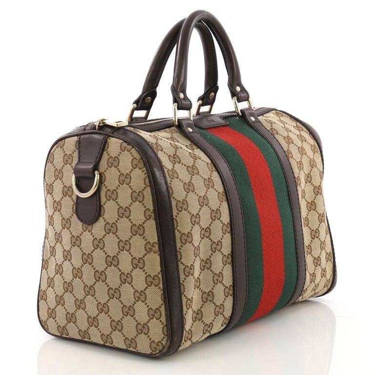 57544e62fd2 Black Gucci Vintage Web Boston Bag GG Canvas Medium For Sale