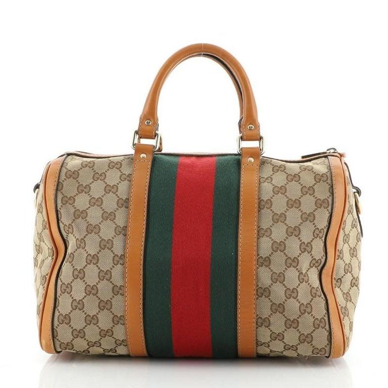 Brown Gucci Vintage Web Boston Bag GG Canvas Medium For Sale