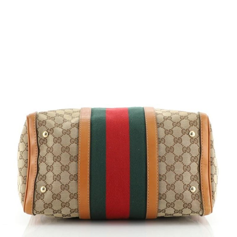 Gucci Vintage Web Boston Bag GG Canvas Medium In Fair Condition For Sale In New York, NY