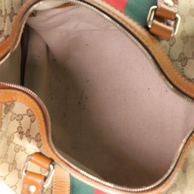 Women's or Men's Gucci Vintage Web Boston Bag GG Canvas Medium For Sale