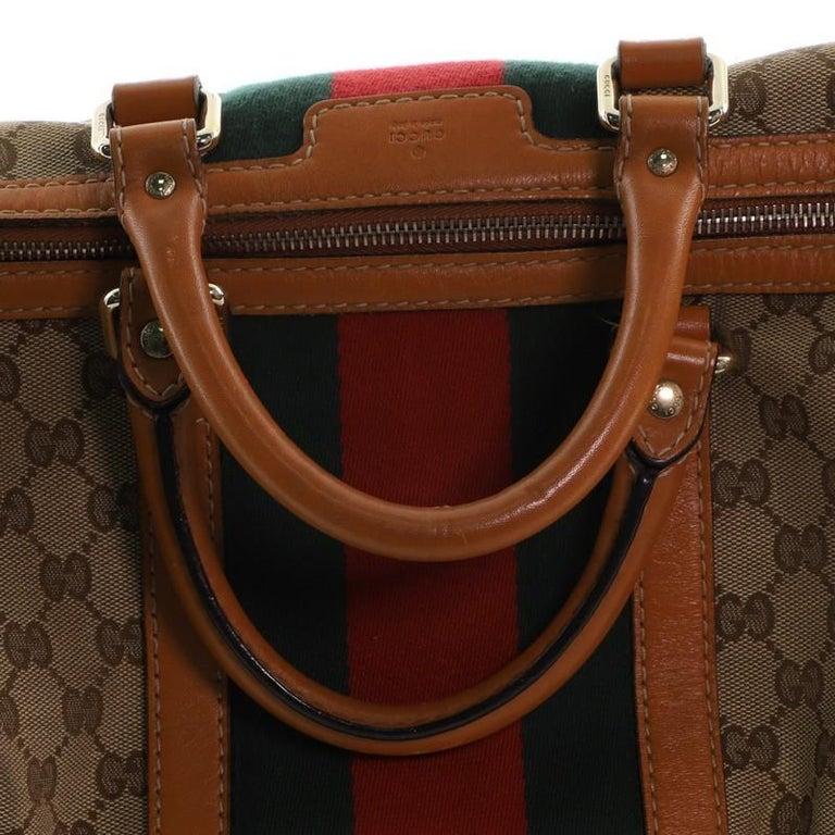 Gucci Vintage Web Boston Bag GG Canvas Medium For Sale 2