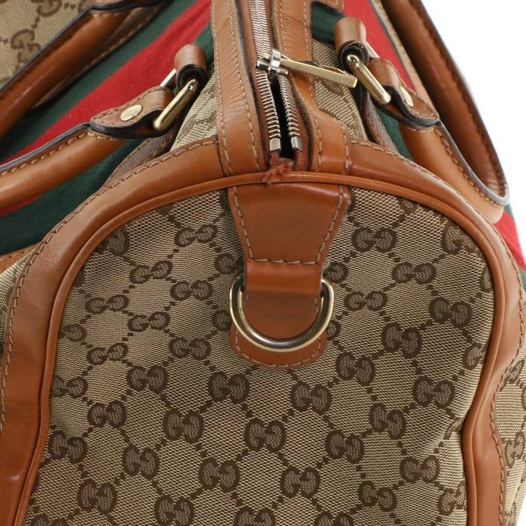 Gucci Vintage Web Boston Bag GG Canvas Medium For Sale 3
