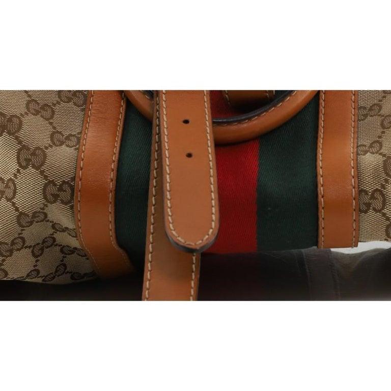 Gucci Vintage Web Boston Bag GG Canvas Medium For Sale 4