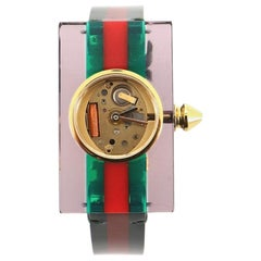 Gucci Vintage Web Rectangular Frame Quartz Watch Plexiglass with Stainless Steel