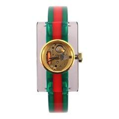 Gucci Vintage Web Rectangular Frame Quartz Watch Plexiglass with Stainless Steel
