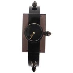 Gucci Vintage Web Stud Rectangular Frame Quartz Watch Plexiglass with Stainless